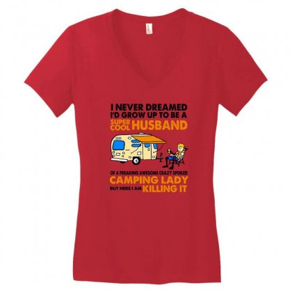 Uper Cool Husband Of A Freaking Awesome Crazy Spoiled Camping Lady Women's V-neck T-shirt Designed By Hoainv