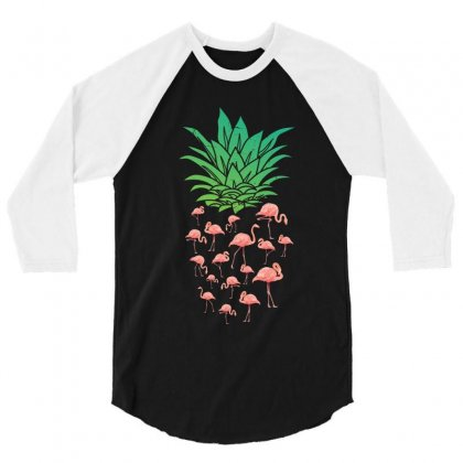 Pineapple Flamingo 3/4 Sleeve Shirt Designed By Rardesign