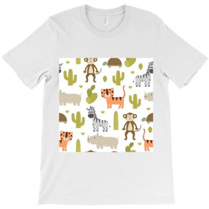 Cute Safari Animals Seamless Pattern T-shirt Designed By Salmanaz