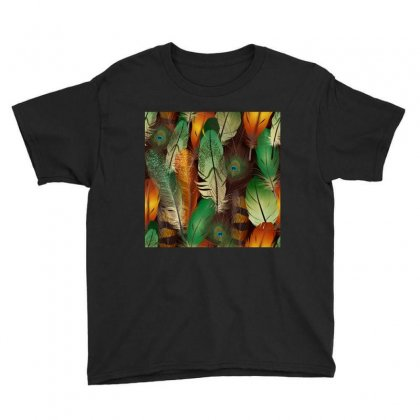 Feathers Realistic Pattern Youth Tee Designed By Salmanaz