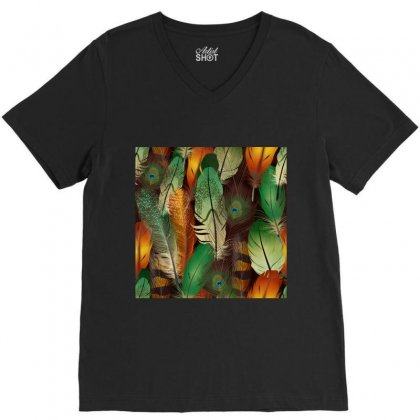 Feathers Realistic Pattern V-neck Tee Designed By Salmanaz