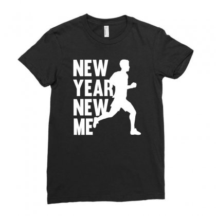 New Year New Me Running Fitness Ladies Fitted T-shirt Designed By G3ry