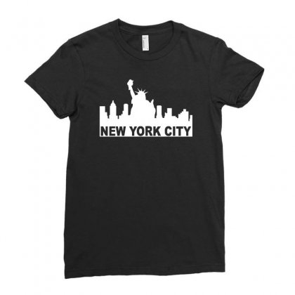 New York Usa America City Ladies Fitted T-shirt Designed By G3ry