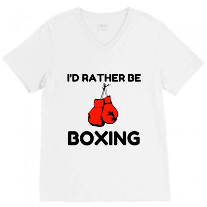 Rather Be Boxing V-neck Tee Designed By Perfect Designers