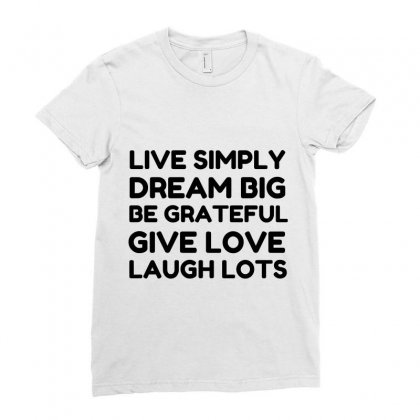 Live Simply Dream Big Be Grateful Ladies Fitted T-shirt Designed By Perfect Designers