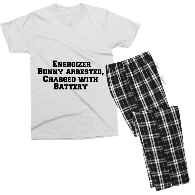 Energizer Bunny Arrested, Charged With Battery Men's T-shirt Pajama Set | Artistshot
