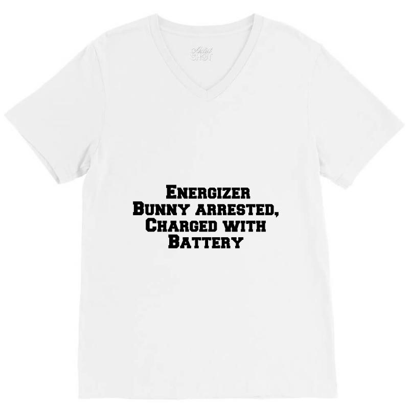 Energizer Bunny Arrested, Charged With Battery V-neck Tee | Artistshot