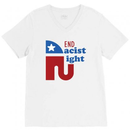 End The Racist Right V-neck Tee Designed By Cogentprint