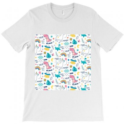 Colorful Doodle Animals Words Pattern T-shirt Designed By Salmanaz