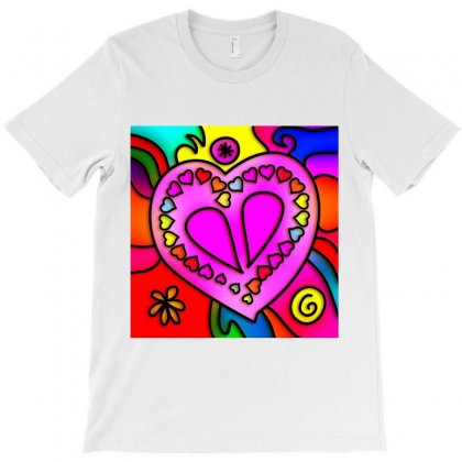 Stained Glass Love Heart T-shirt Designed By Salmanaz