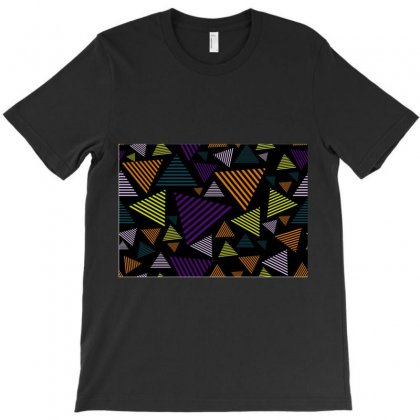 Abstract Pattern Design Various Striped Triangles Decoration T-shirt Designed By Salmanaz