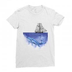 ship over blue whale Ladies Fitted T-Shirt   Artistshot