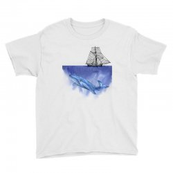 ship over blue whale Youth Tee | Artistshot
