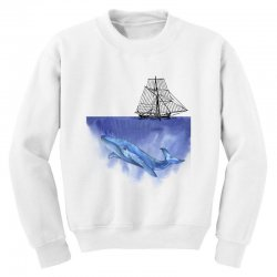 ship over blue whale Youth Sweatshirt | Artistshot
