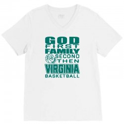 god first family second then virginia cavaliers basketball 1 V-Neck Tee | Artistshot