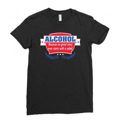 Alcohol Ladies Fitted T-shirt Designed By Meganphoebe