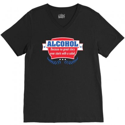 Alcohol V-neck Tee Designed By Meganphoebe
