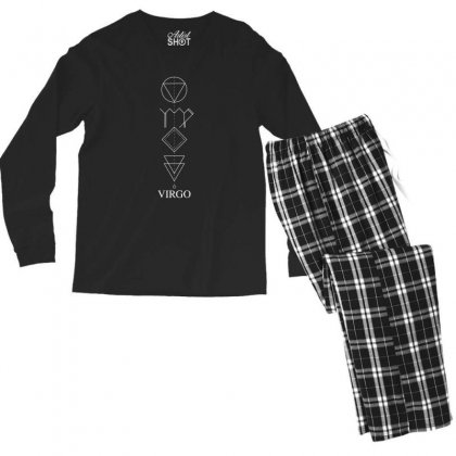 Virgo Geometric For Dark Men's Long Sleeve Pajama Set Designed By Zeynepu