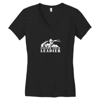 Alolf Hitler Follow Your Leader Anti Nazi Racism Protest Tee Women's V-neck T-shirt Designed By Enjang