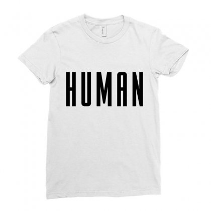 Human (black) Ladies Fitted T-shirt Designed By New Spirit