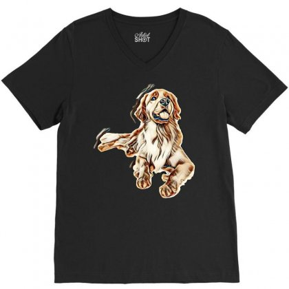Cute Dogs V-neck Tee Designed By Kemnabi
