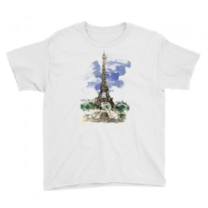 Eiffel Tower Watercolor Painting Youth Tee Designed By Salmanaz