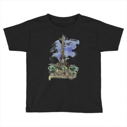 Eiffel Tower Watercolor Painting Toddler T-shirt Designed By Salmanaz