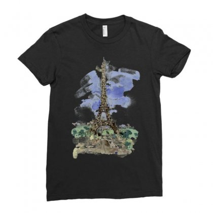 Eiffel Tower Watercolor Painting Ladies Fitted T-shirt Designed By Salmanaz