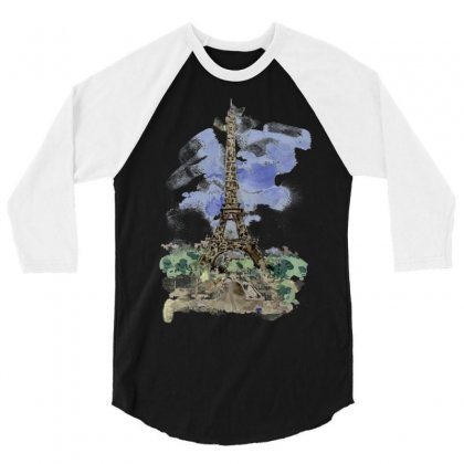 Eiffel Tower Watercolor Painting 3/4 Sleeve Shirt Designed By Salmanaz