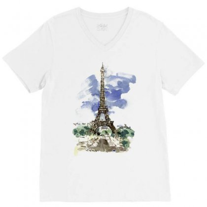 Eiffel Tower Watercolor Painting V-neck Tee Designed By Salmanaz