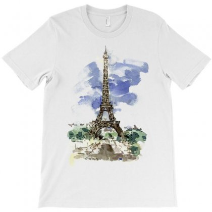 Eiffel Tower Watercolor Painting T-shirt Designed By Salmanaz