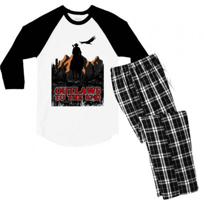 Outlaws To The End   Red Dead Redemption Men's 3/4 Sleeve Pajama Set Designed By Meganphoebe