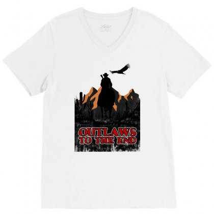 Outlaws To The End   Red Dead Redemption V-neck Tee Designed By Meganphoebe