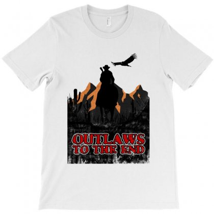 Outlaws To The End   Red Dead Redemption T-shirt Designed By Meganphoebe