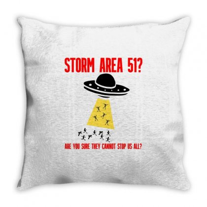 Storm Area 51? Throw Pillow Designed By Pop Cultured