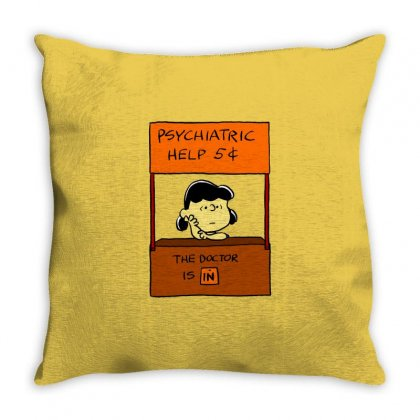 Lucy Van Pelt: The Doctor Is In Throw Pillow Designed By Pop Cultured