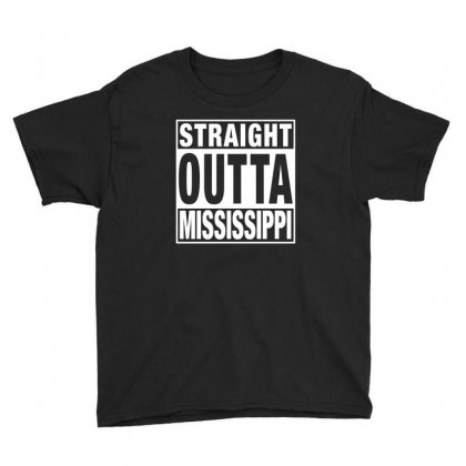 Straight Outta Mississippi For Dark Youth Tee Designed By Sengul