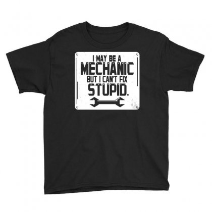 I May Be A Mechanic But I Cant Fix Stupid Youth Tee Designed By Curspact