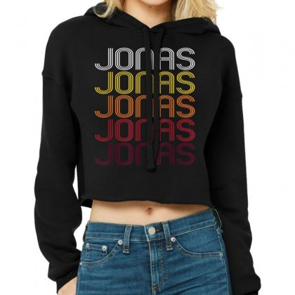 Jonas Retro Wordmark Pattern Cropped Hoodie Designed By Mdk Art