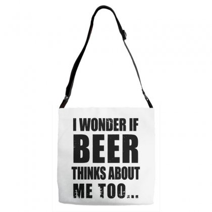 I Wonder If Beer Thinks About Me Adjustable Strap Totes Designed By Pinkanzee