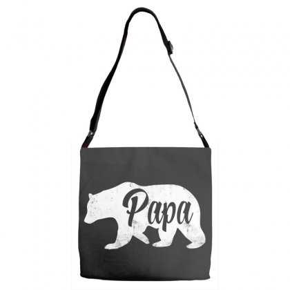 Papa Bear In White Adjustable Strap Totes Designed By Pinkanzee