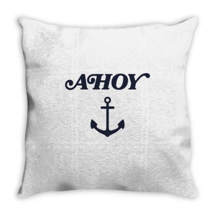 Ahoy With Anchor Throw Pillow Designed By Toweroflandrose