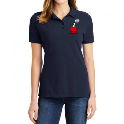 Snoopy: Curse You Red Baron! Ladies Polo Shirt Designed By Pop Cultured