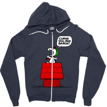Snoopy: Curse You Red Baron! Zipper Hoodie Designed By Pop Cultured
