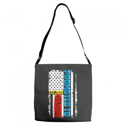 Promoted To Daddy Est 2019 Adjustable Strap Totes Designed By Pinkanzee