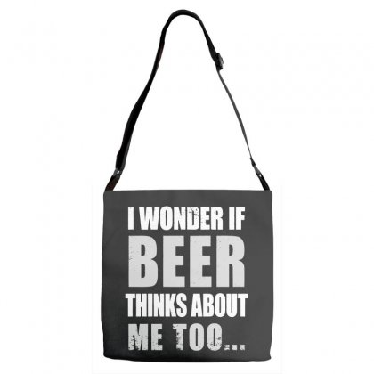 Wonder If Beer Thinks About Me Adjustable Strap Totes Designed By Pinkanzee