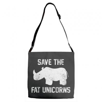 Save The Fat Unicorns White Style Adjustable Strap Totes Designed By Pinkanzee