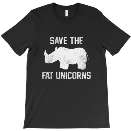 Save The Fat Unicorns White Style T-shirt Designed By Pinkanzee