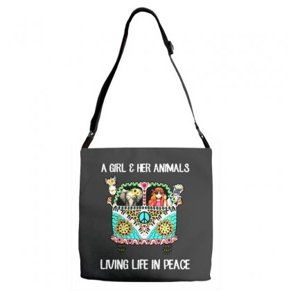 A Girl And Her Animals Living Life In Peace Adjustable Strap Totes Designed By Pinkanzee