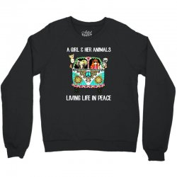a girl and her animals living life in peace Crewneck Sweatshirt | Artistshot